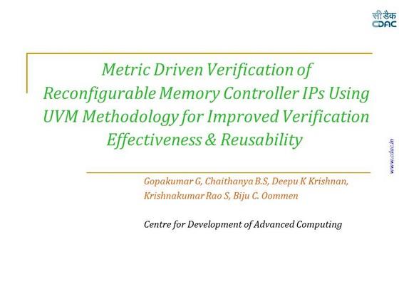 Metric Driven Verification Of Reconfigurable Memory Controller IPs